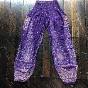 Pants - Purple Printed Palazzo Pant